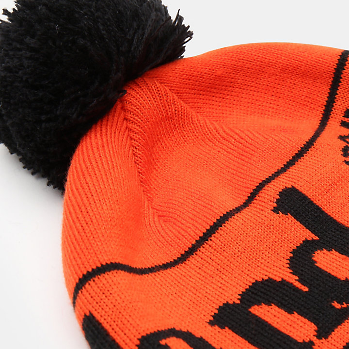 Pom Beanie for Men in Orange-