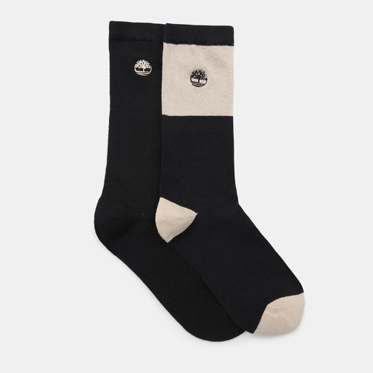 Two Pair Pack Patterned Socks for Men in Black | Timberland
