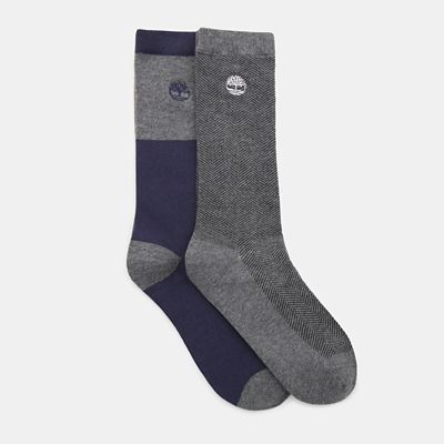 Two+Pair+Pack+Patterned+Socks+for+Men+in+Grey