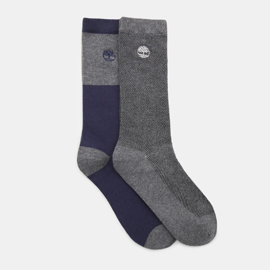 Two Pair Pack Patterned Socks for Men in Grey | Timberland