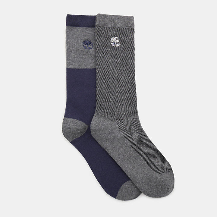 Two Pair Pack Patterned Socks for Men in Grey-