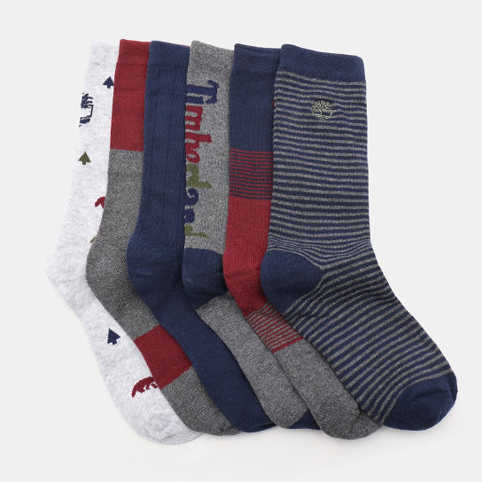 Six Pairs Socks Gift Box for Men in Grey | Timberland