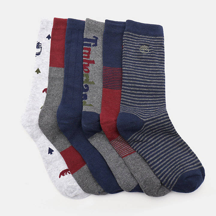 Six Pairs Socks Gift Box for Men in Grey-