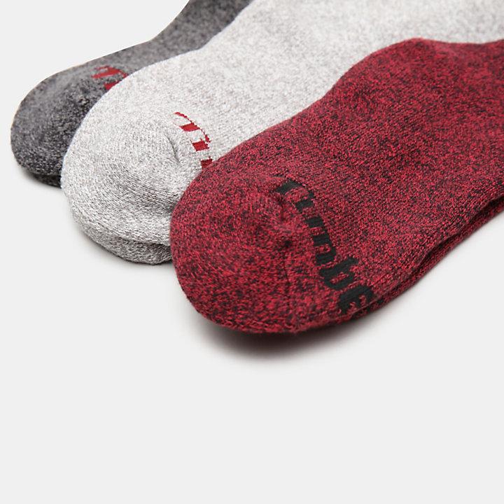 Coffret-cadeau avec trois paires de chaussettes femme en gris/rouge-
