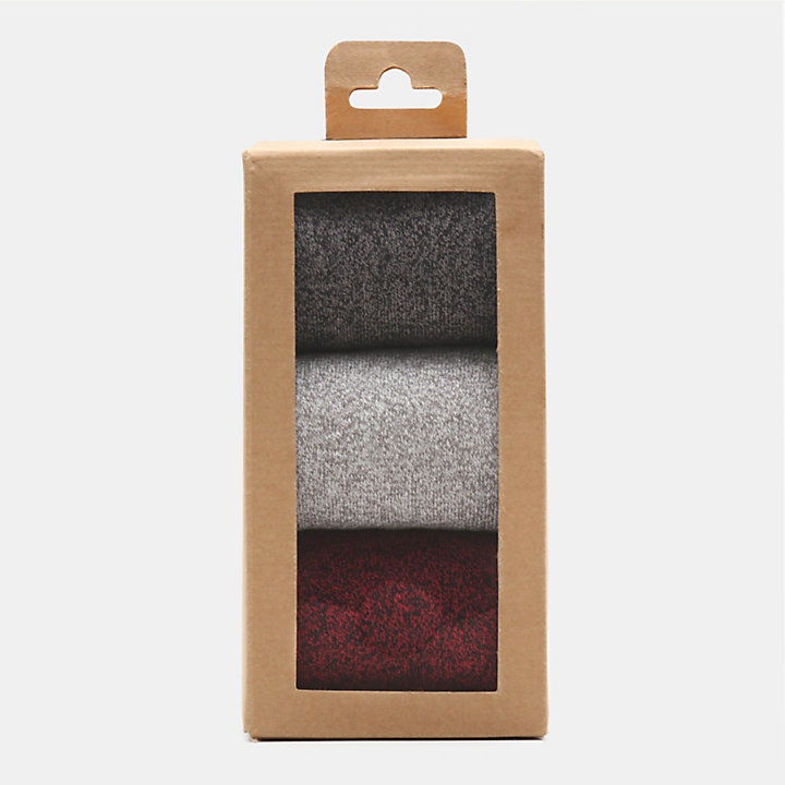 Three Pair Crew Sock Gift Box for Women in Grey/Red-