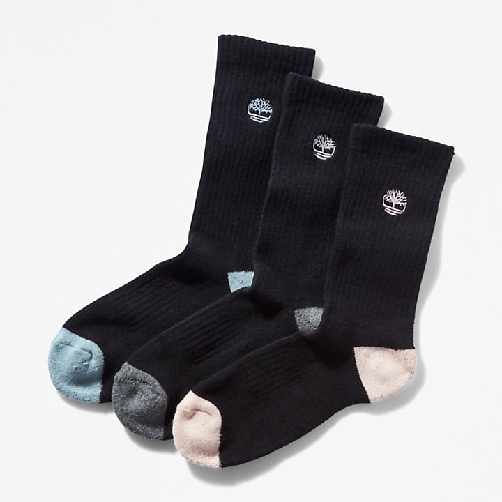 Three Pair Cushion Socks for Women in Black-