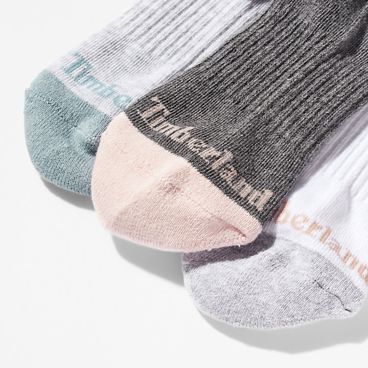 Three Pair Sagamore Beach Socks for Women in White/Grey-