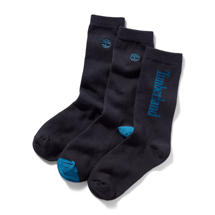 Three Pair Pack Logo Crew Socks for Men in Black-