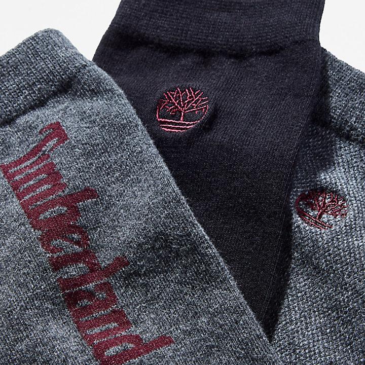 Three Pair Logo Crew Socks for Men in Grey-