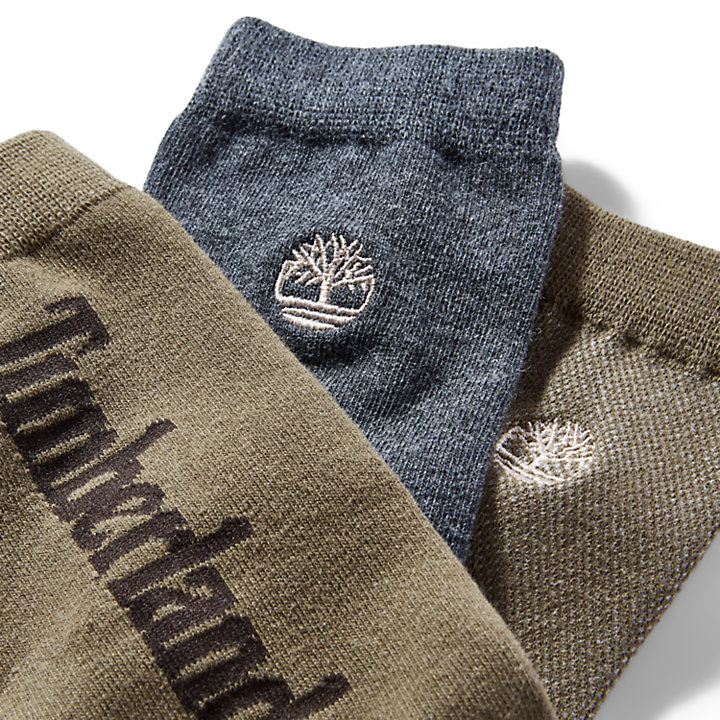 Dreierpack Crew-Socken für Herren in Grün-