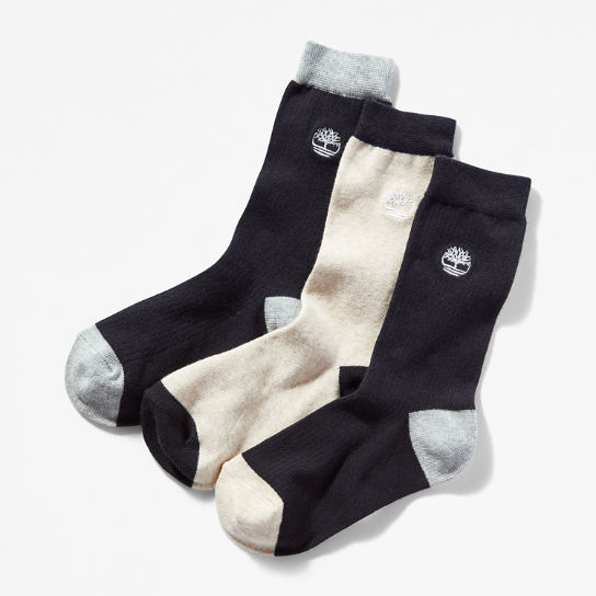 Three Pair Pack Colour Block Socks for Women in Black | Timberland