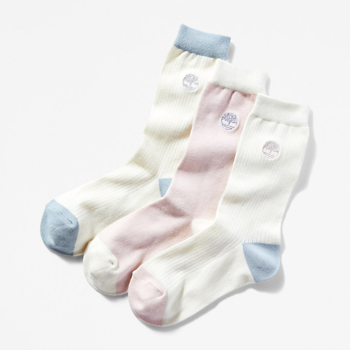 Three Pair Pack Colour Block Socks for Women in White-