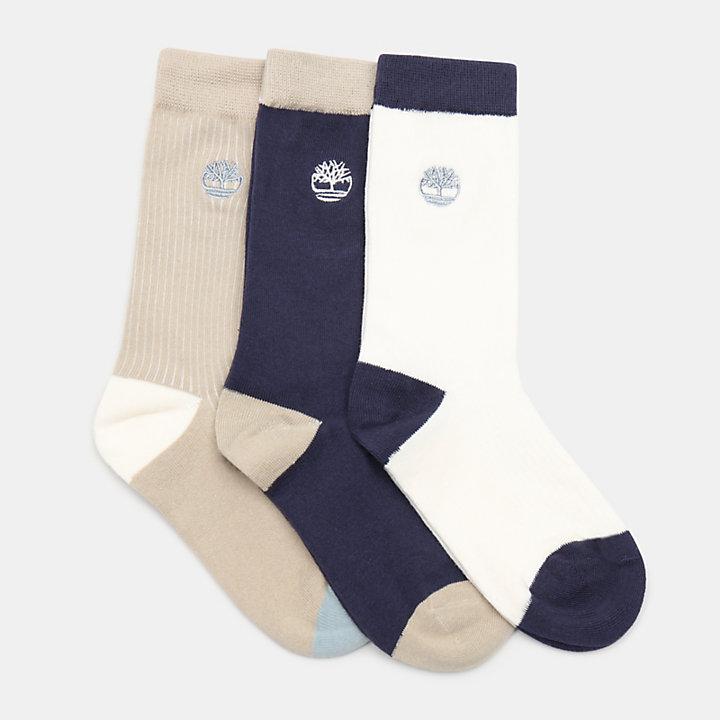 Lot de trois paires de chaussettes color-block pour femme en beige-