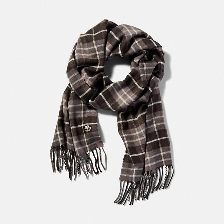 Écharpe à carreaux écossais en gris-