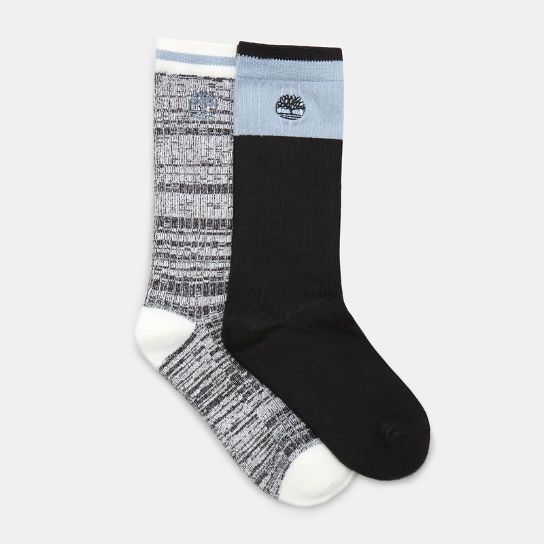 Two Pair Pack Soft Crew Socks for Women in Black | Timberland