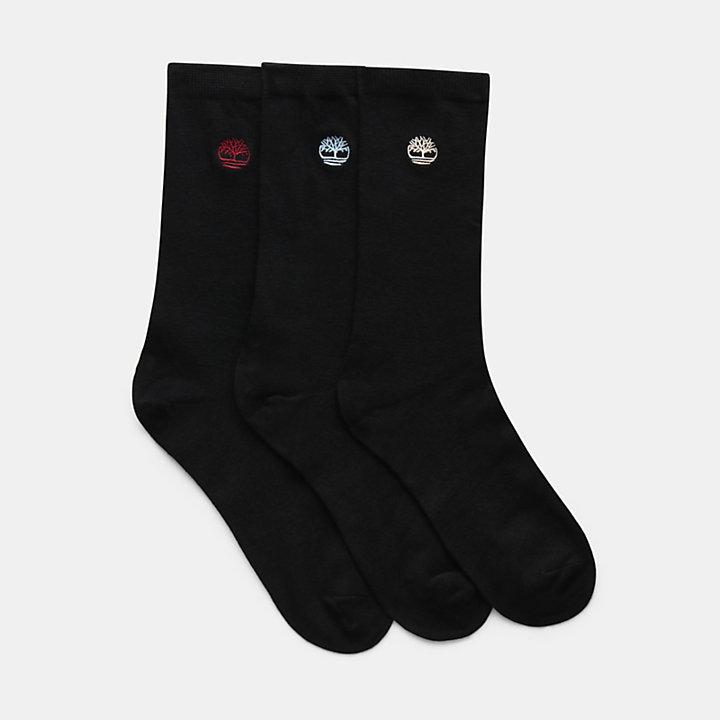 Three Pair Gift Pack of Socks for Men in Black-