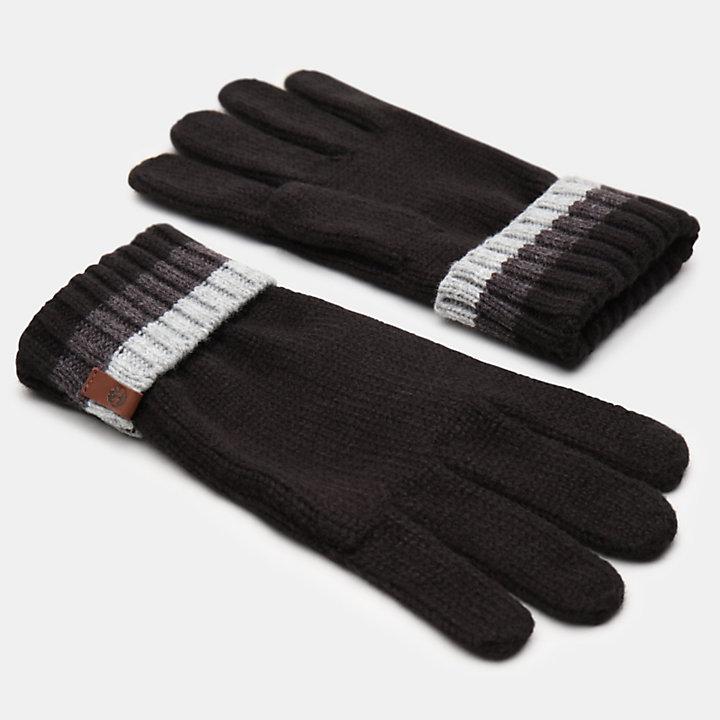 Island Pond Handschuhe mit Zopfmuster für Herren in Schwarz-
