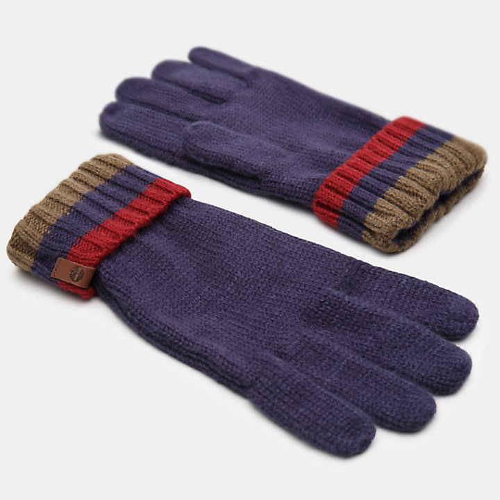 Island Pond Cable Knit Gloves for Men in Navy-