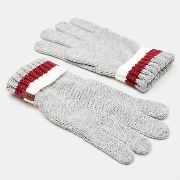 Island Pond Cable Knit Gloves for Men in Grey-