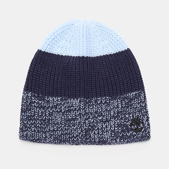 Colour Block Beanie for Men in Blue-