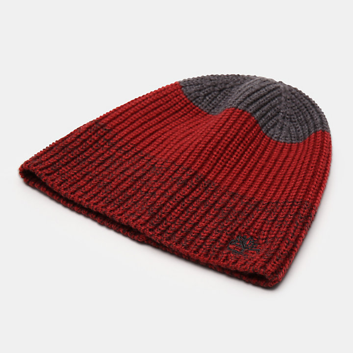 Bonnet color-block pour homme en rouge-