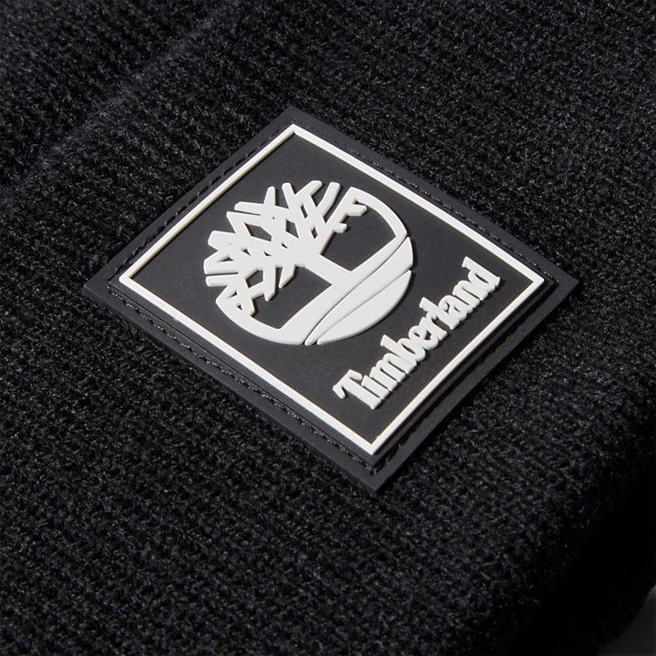 Logo Patch Mushroom Beanie for Men in Black-