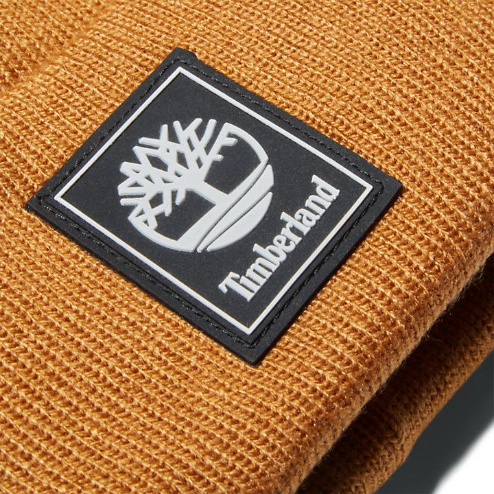 Logo Patch Mushroom Beanie voor heren in geel-