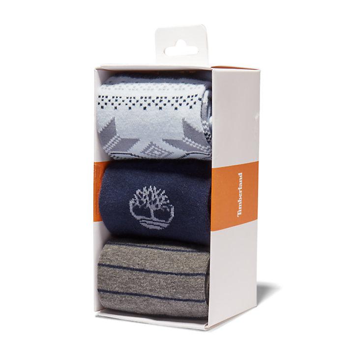 Cadeauset met drie paar korte sokken voor heren in blauw-
