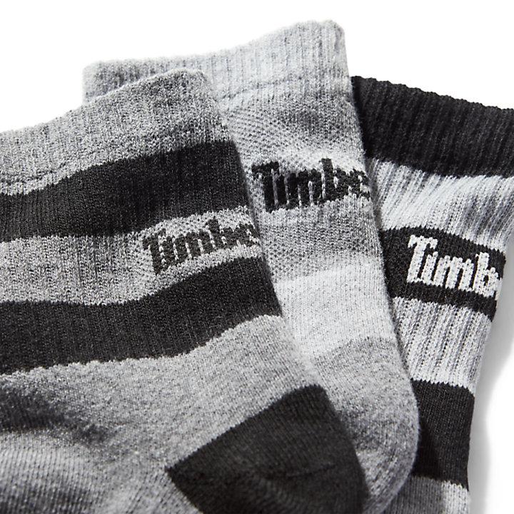 Lot de trois paires de socquettes rayées pour homme en gris-