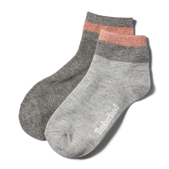 Two Pair Metallic Anklet Socks for Women in Grey | Timberland