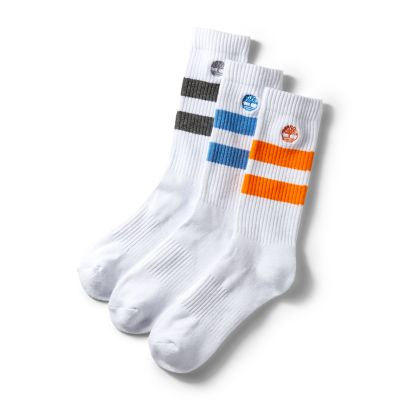 Three+Pair+Pack+Striped+Socks+for+Men+in+White