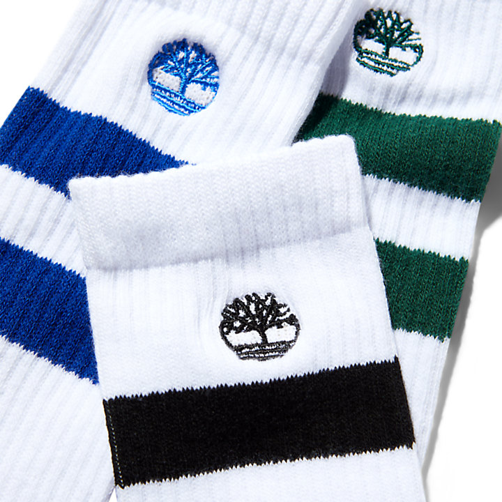 Three Pair Pack Striped Socks for Men in Green-
