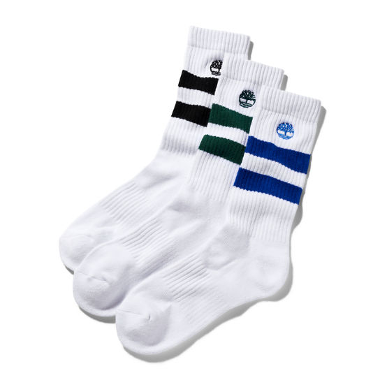 Three Pair Pack Striped Socks for Men in Green | Timberland