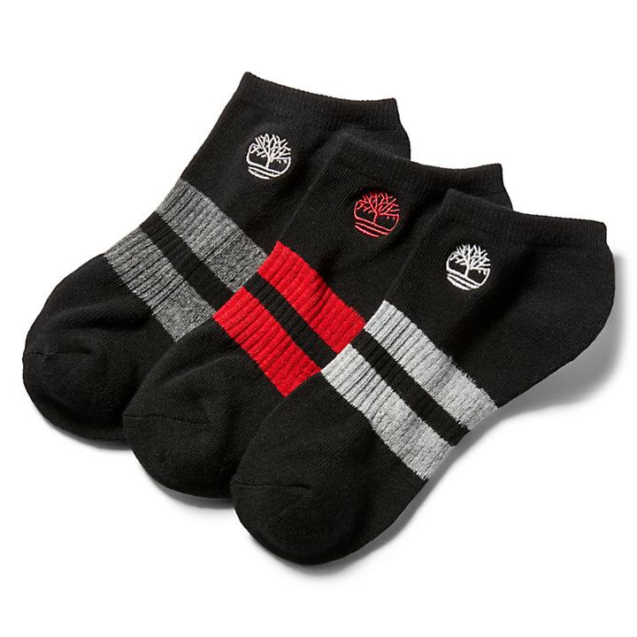 Drie Paar Striped No-Show Sokken voor Heren in zwart-