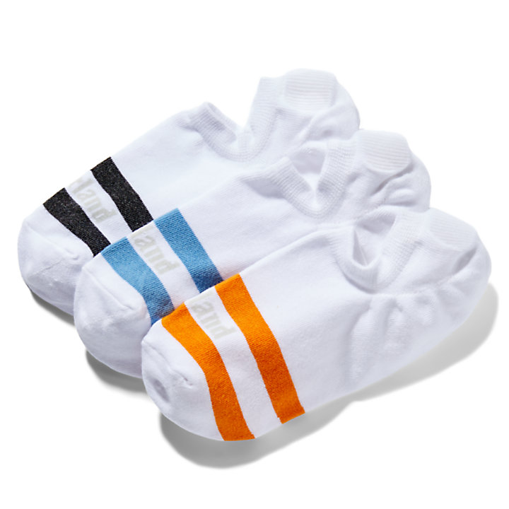 Three Pair Pack Striped Shoe Liners for Men in White-