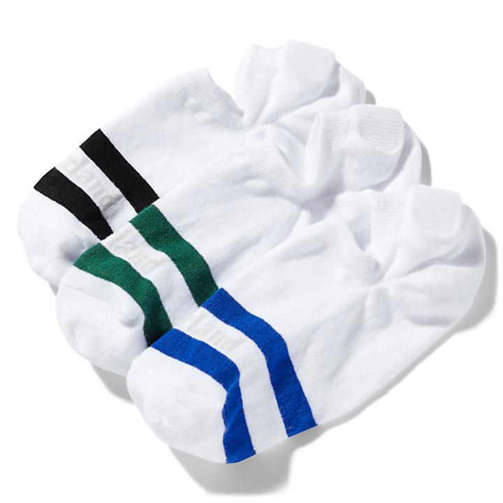 Paquete de Tres Pares de Calcetines Invisibles a Rayas para Hombre en verde-