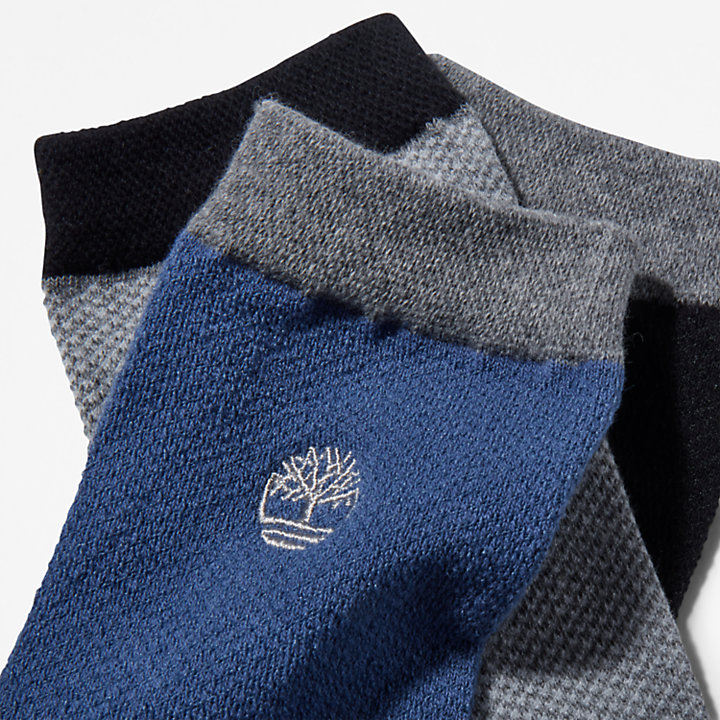 Three Pair Pique Crew Socks for Men in Black-