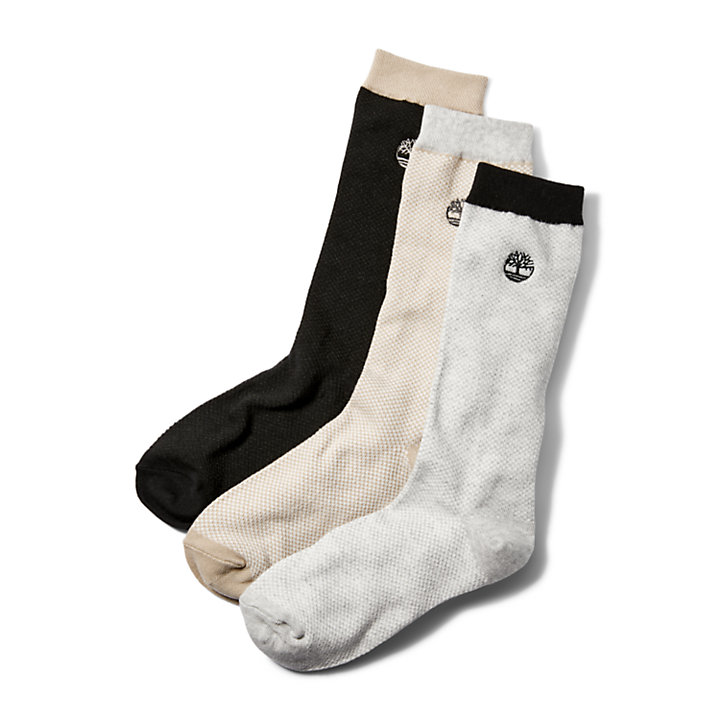 Three Pair Pique Crew Socks for Men in Beige-
