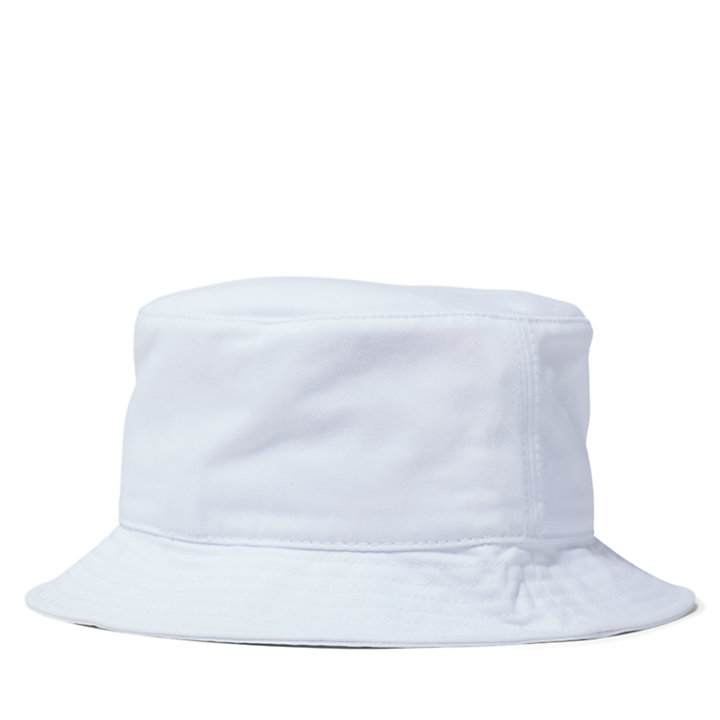 Embroidered Logo Bucket Hat in White-