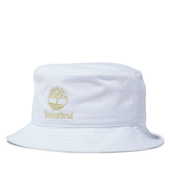 Embroidered Logo Bucket Hat in White | Timberland