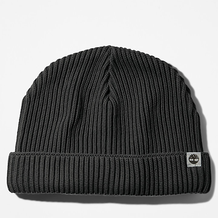 Bonnet en coton pour homme en noir-