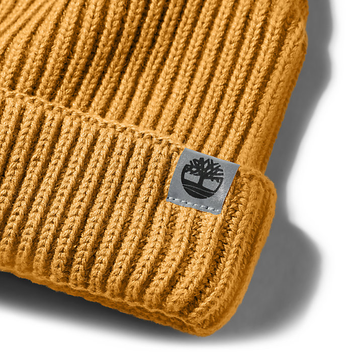 Cotton Beanie for Men in Yellow-