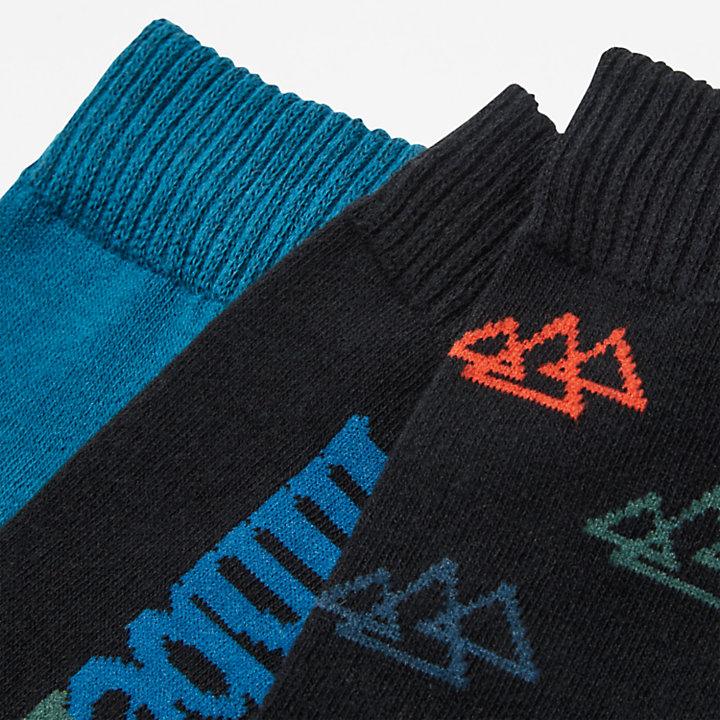 Geschenkset mit Crew-Socken im 3er-Pack für Herren in Schwarz-