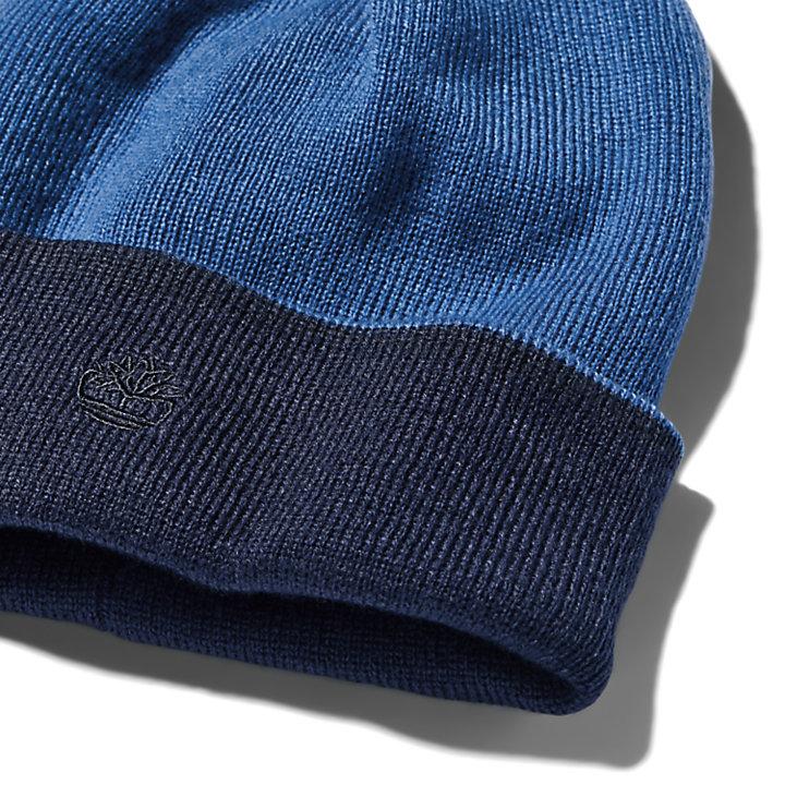 Colour-Block Reversible Beanie for Men in Blue-