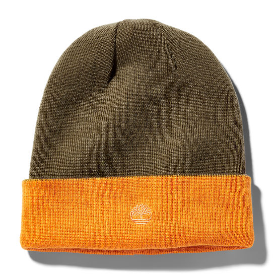 Colour-Block Reversible Beanie for Men in Orange | Timberland