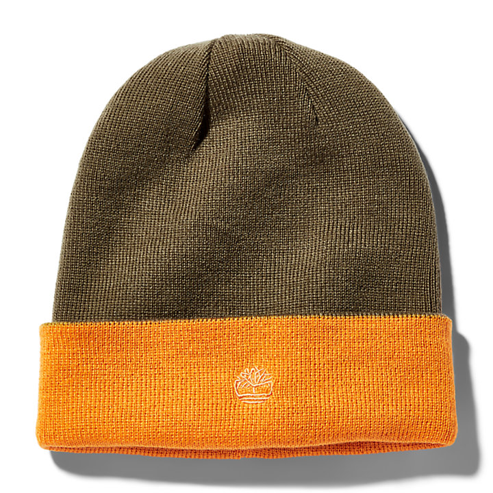 Colour-Block Reversible Beanie for Men in Orange-