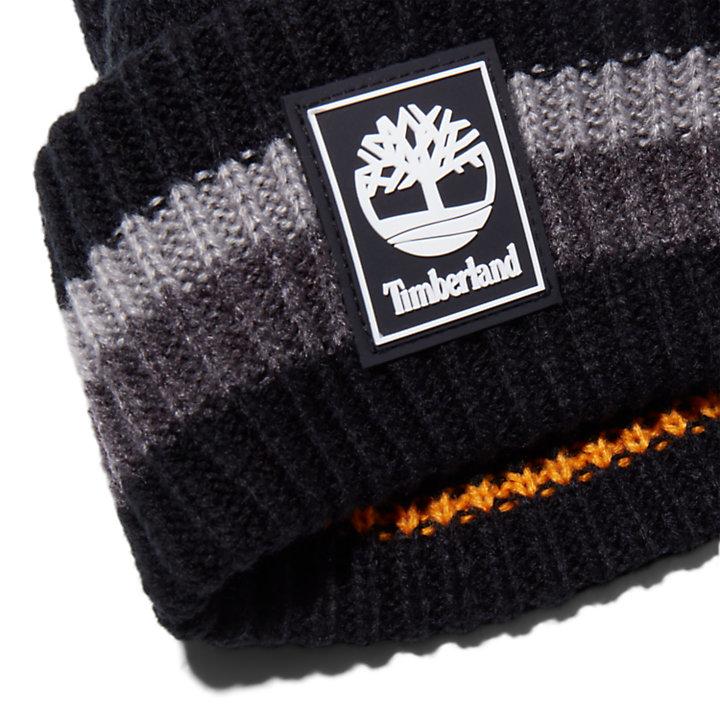 Striped Cuff Beanie for Men in Black-