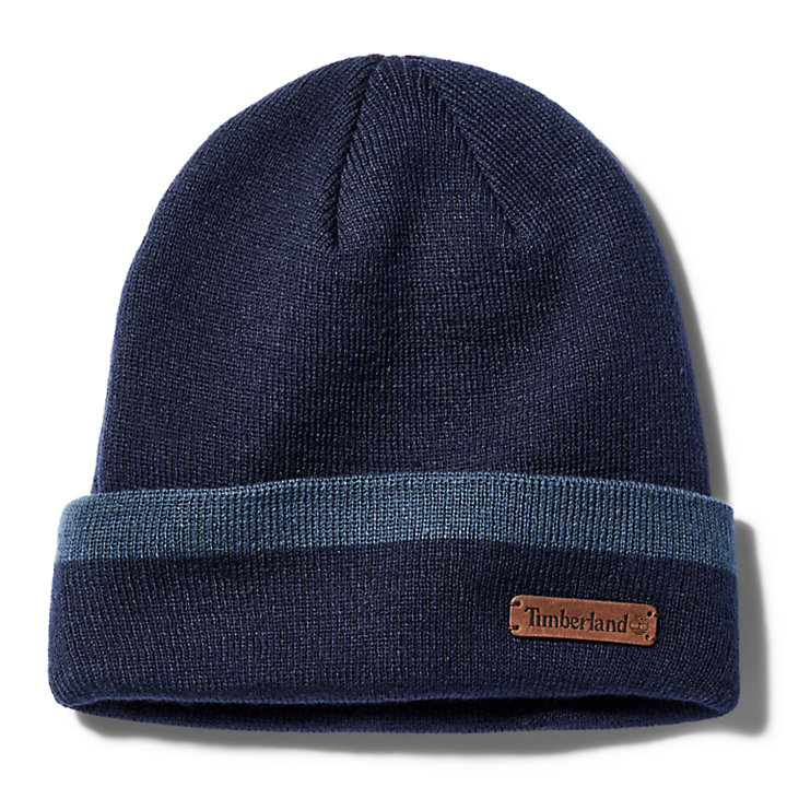 Wide-Stripe Beanie & Scarf Gift Set for Men in Blue-