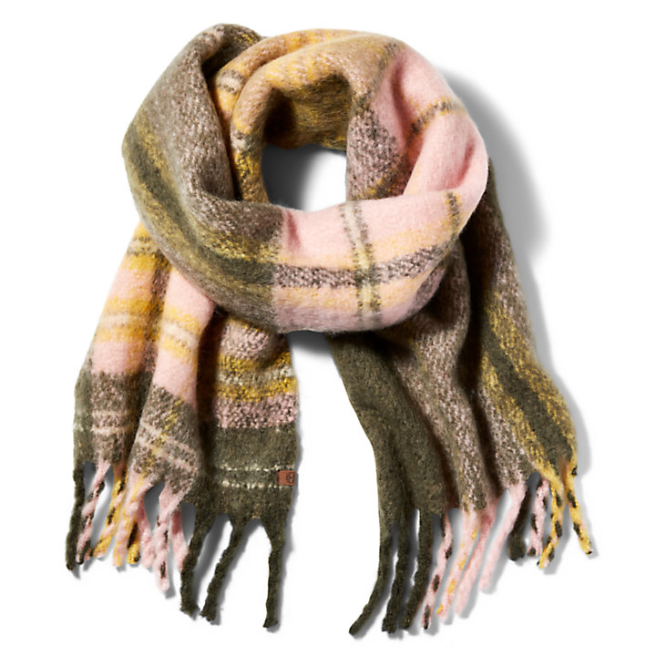 Check Blanket Scarf for Women in Green-