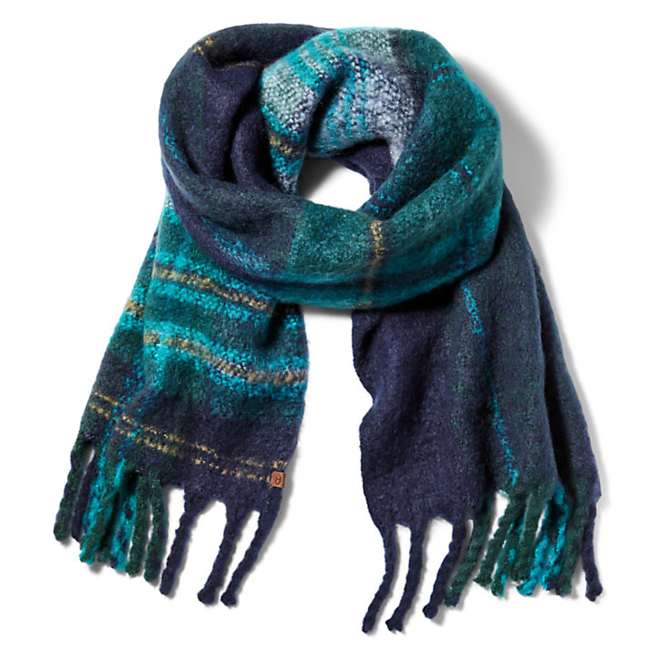 Check Blanket Scarf for Women in Blue-